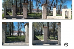 klasicistní  brána s oplocením a brankou